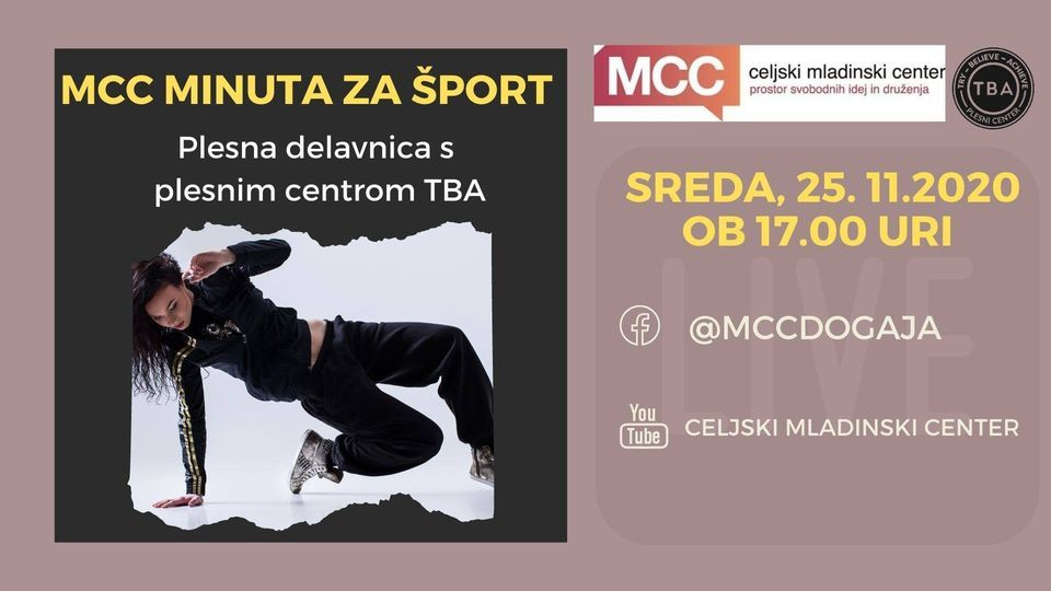 MCC minuta za šport - Plesna delavnica s plesnim centrom TBA