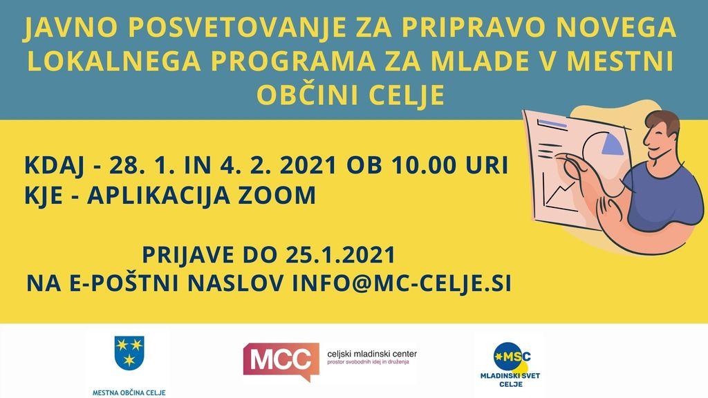 Javno posvetovanje za pripravo lokalnega programa za mlade v Mestni občini Celje 2021 – 2026 Mladi so Celje