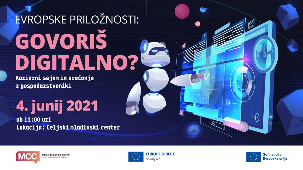"""Informacijska točka EUROPE DIRECT Savinjska in Celjski mladinski center vabita na dogodek """"Govoriš digitalno?"""""""