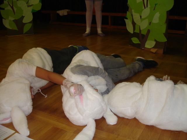 Utrujeni zajčki so zaspali.