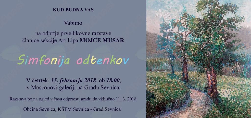 Odprtje prve likovne razstave »Simfonija odtenkov«članice likovne sekcije Art Lipa MOJCE MUSAR