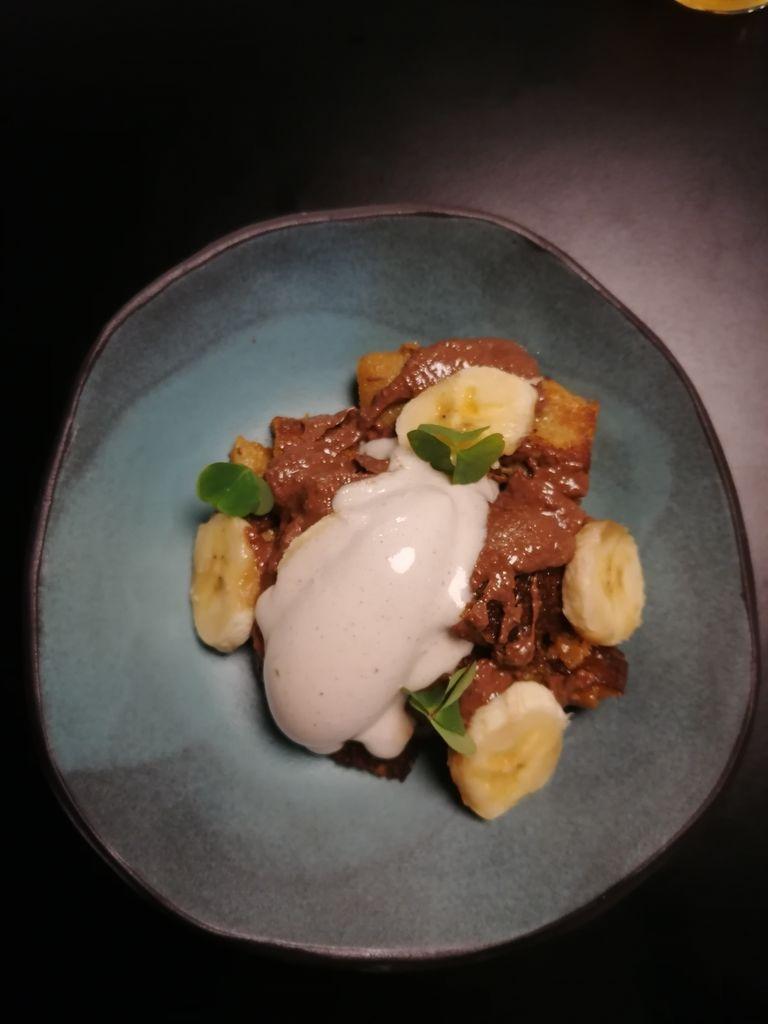 Šmorn, sladoled pečene banane, banana, domači čokoladno-lešnikov namaz