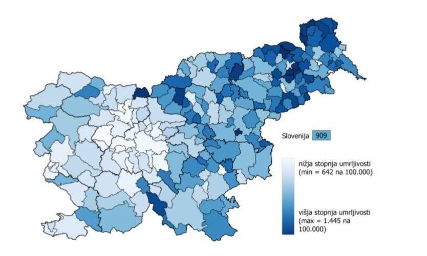 Grafični prikaz umrljivosti po stalnem bivališču na 100.000 prebivalcev (povprečje v letih 2015–2019); v občini Dobrova - Polhov Gradec je podpovprečna, saj znaša 756 v primerjavi s slovenskim povprečjem, ki znaša 909.
