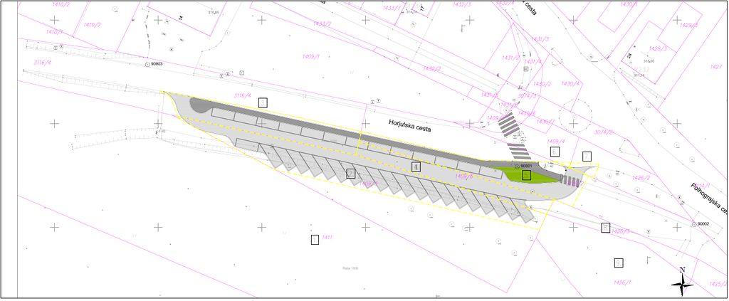 Izsek iz projekta, ki prikazuje ureditev parkirnih mest ob Horjulski cesti.