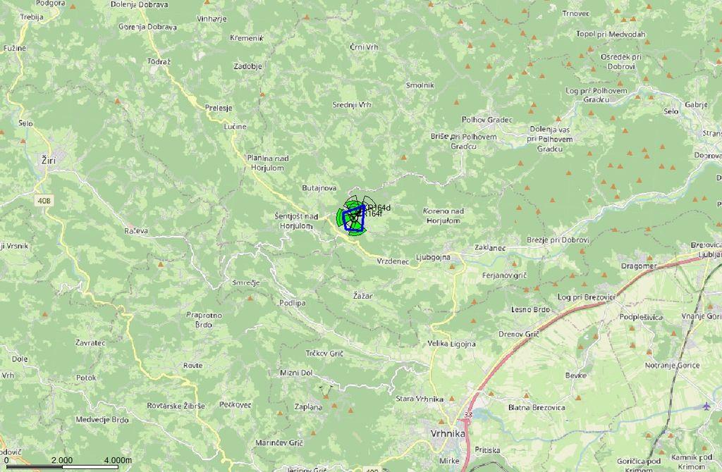Zemljevid, na katerem je vidna lokacija predvidenega oddajnika