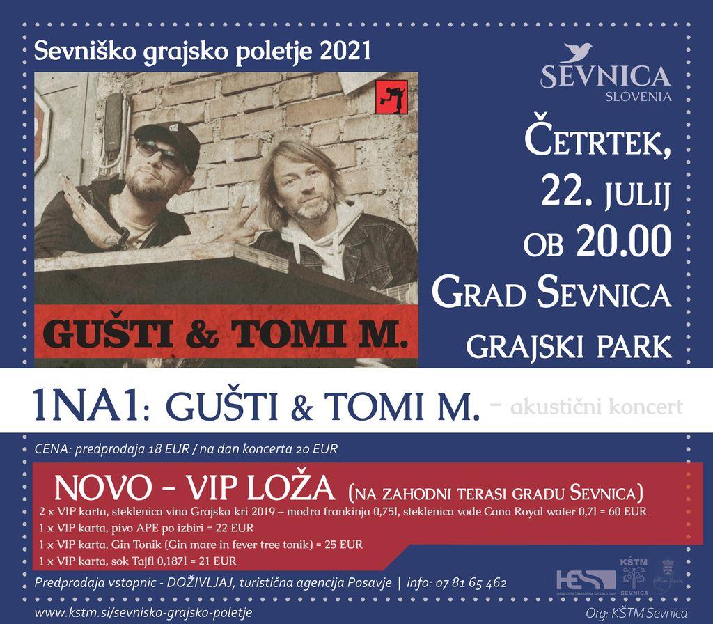 Sevniško grajsko poletje 2021, akustični koncert 1 na 1: Gušti & Tomi