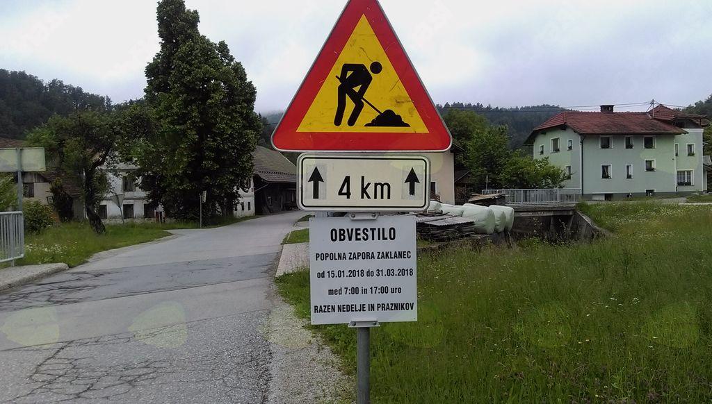 Obvestilo o zapori ceste
