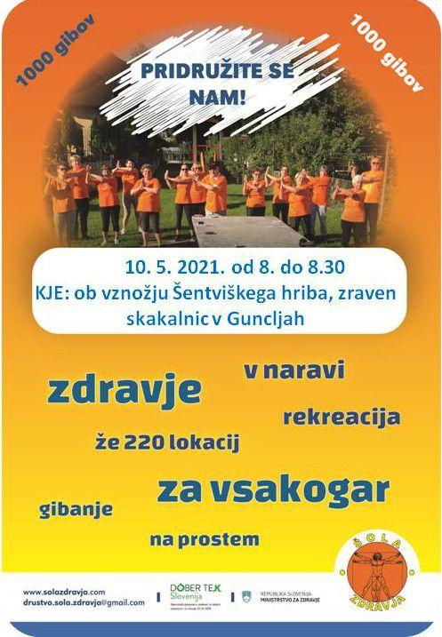 """Jutranja telovadba """"1000 gibov"""" v Guncljah - MOL, ČS Šentvid - vsak delovni dan"""