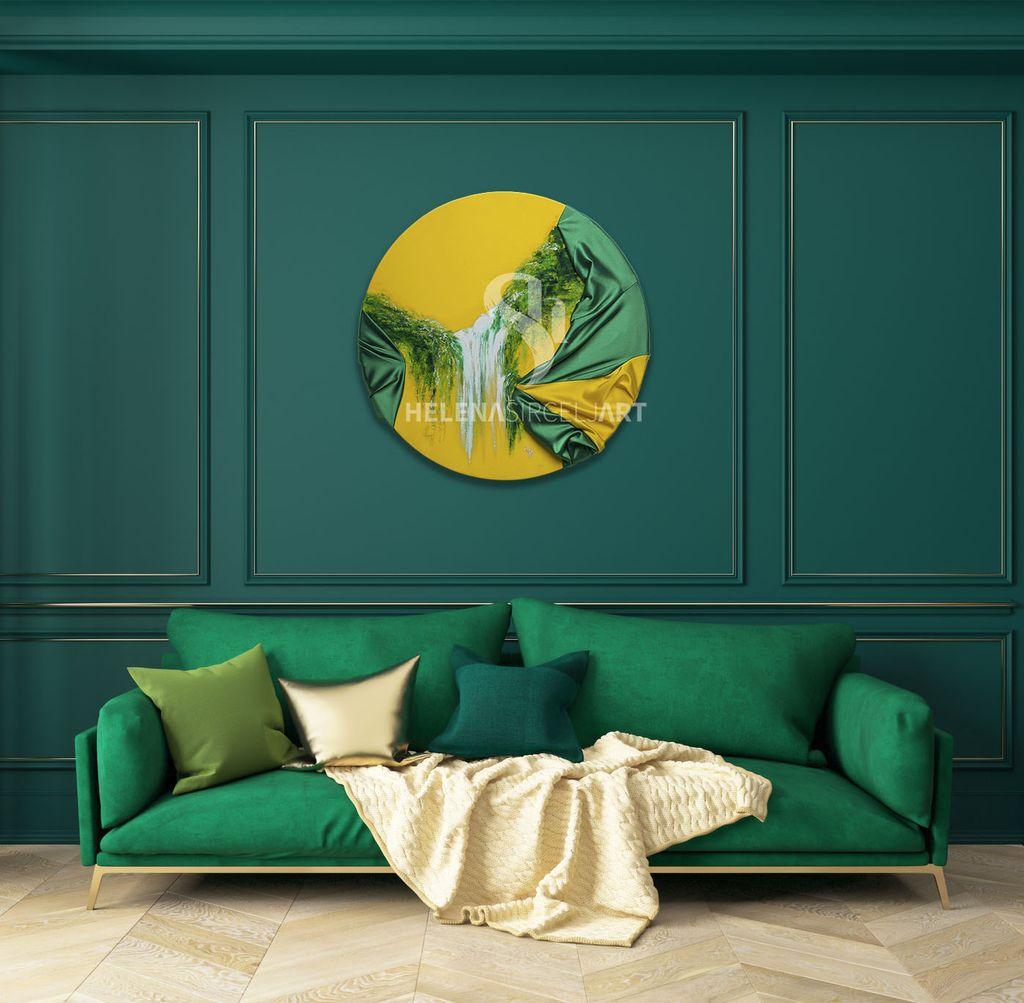 WATERFALL Originalna oljna slika na Giorgio Armani saten / Limited Edition