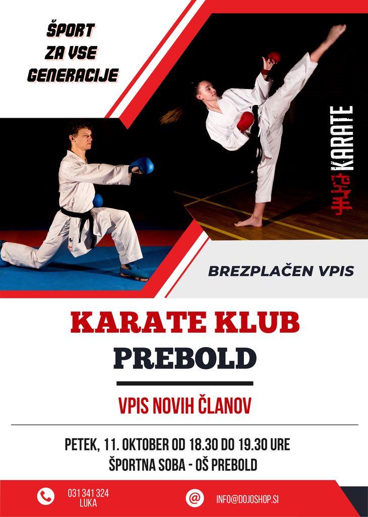 Karate klub Prebold vabi k vpisu