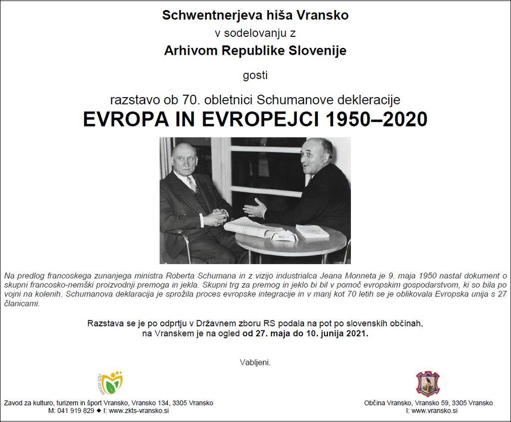 Razstava ob 70. obletnici Schumanove dekleracije EVROPA IN EVROPEJCI 1950–2020