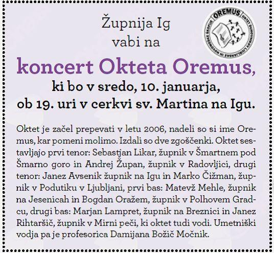 Koncert Okteta Oremus