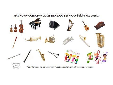 VPIS novih učencev v Glasbeno šolo Sevnica v šolsko leto 2020/21 - naknadni rok