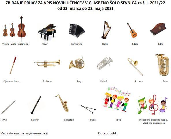 Vpis novih učence v Glasbeno šolo Sevnica za š. l. 2021/22