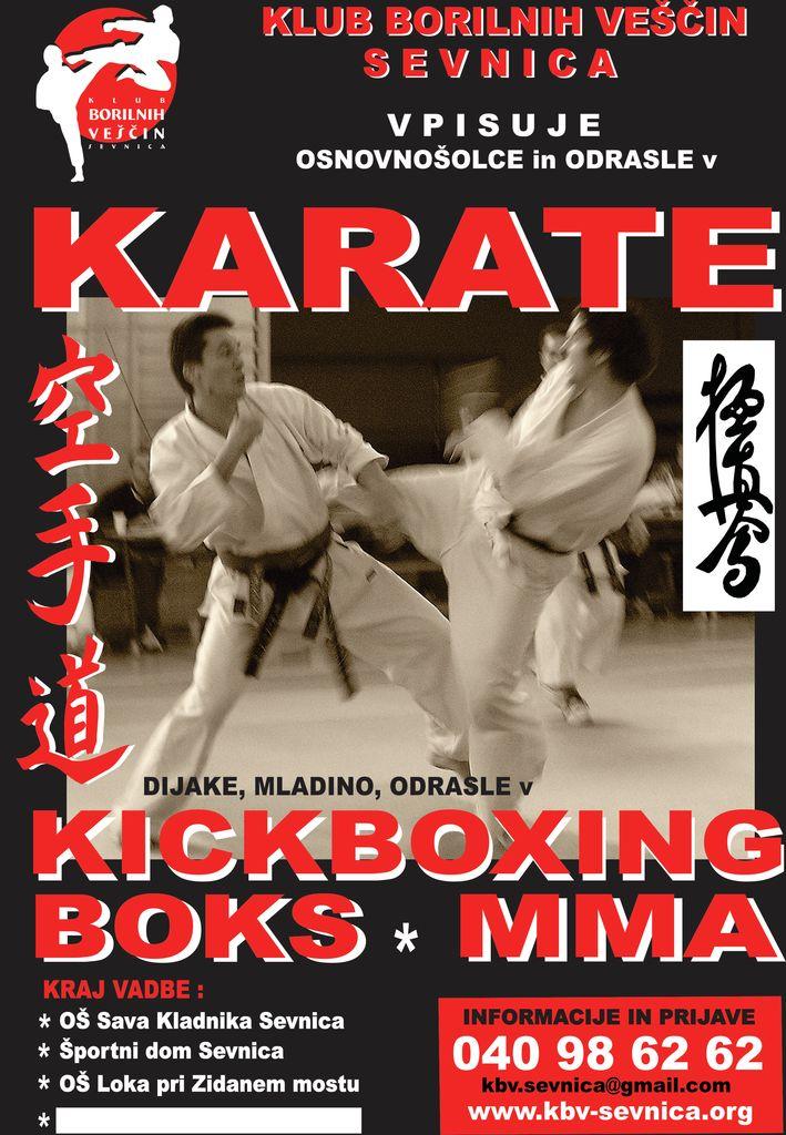 Plakat za vpis v KARATE in KICKBOXING