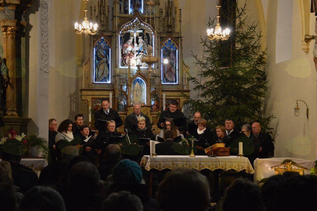 Nastop Mešanega cerkvenega pevskega zbora župnije Tržišče z zborovodjo Gorazdom Kermcom (foto: Petra Knez)