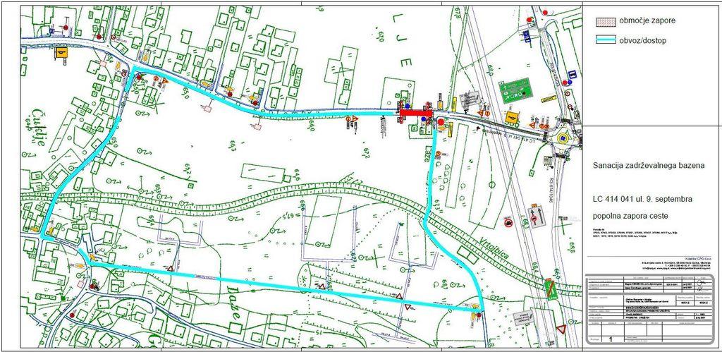 Zapora Ulice. 9. septembra zaradi rekonstrukcije razbremenilnega jaška BA ZBDV »AB
