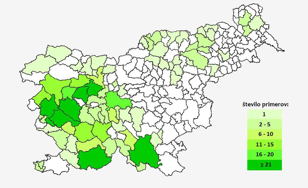 Število prijavljenih primerov HMRS, po občinah, 2021 (www.nijz.si)