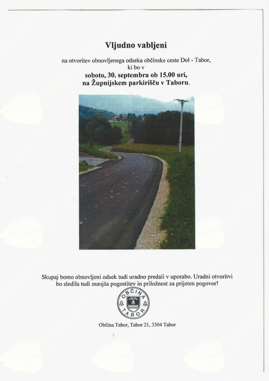 Otvoritev odseka ceste in nova številka lokalnega glasila