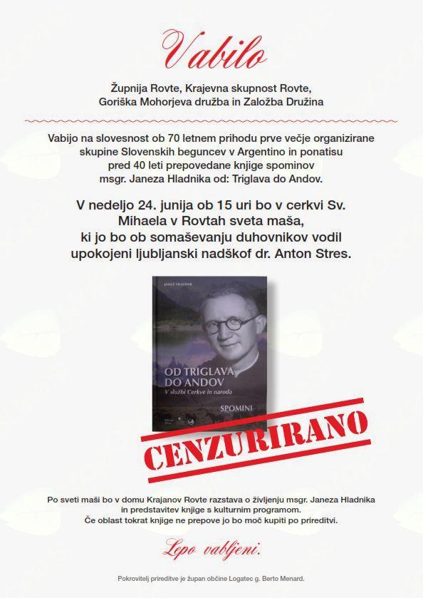 Spominska slovesnost ob štirideseti obletnici izdaje knjige msgr Janeza Hladnika