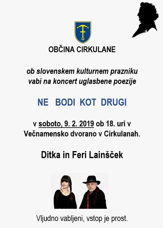 Vabilo na koncert Ditke in Ferija Lainščka ob slovenskem kulturnem prazniku