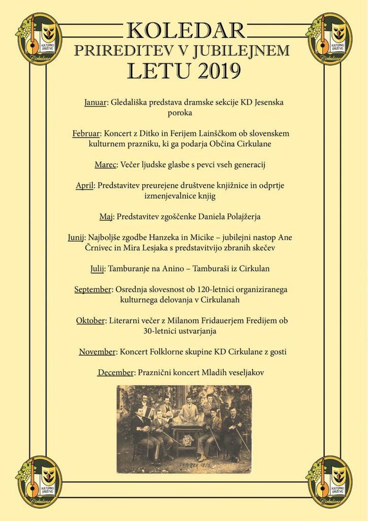 120 let kulture Cirkulanah – koledar prireditev