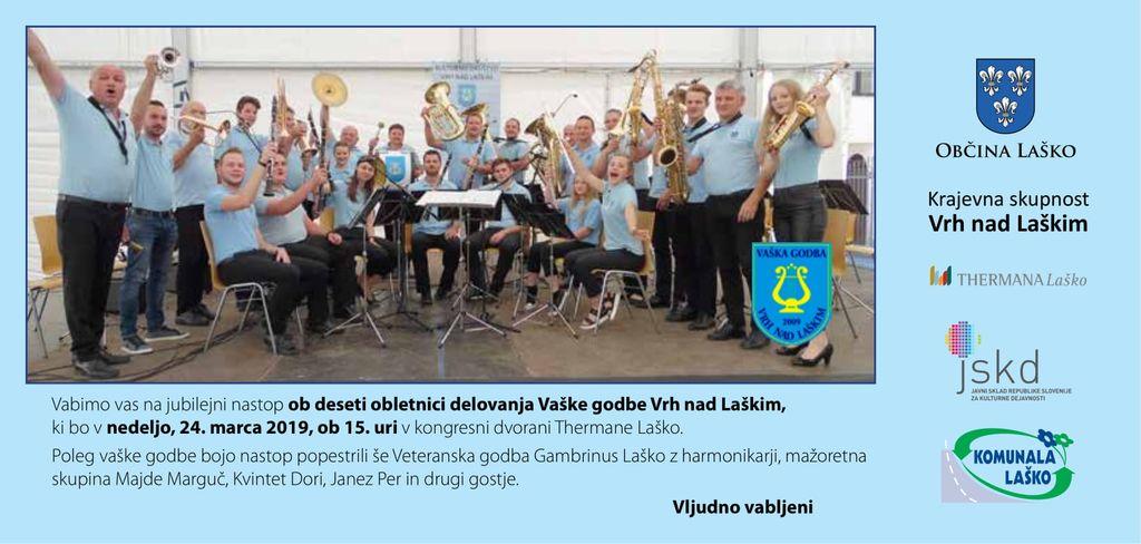 Koncert ob 10. obletnici Vaške godbe Vrh nad Laškim