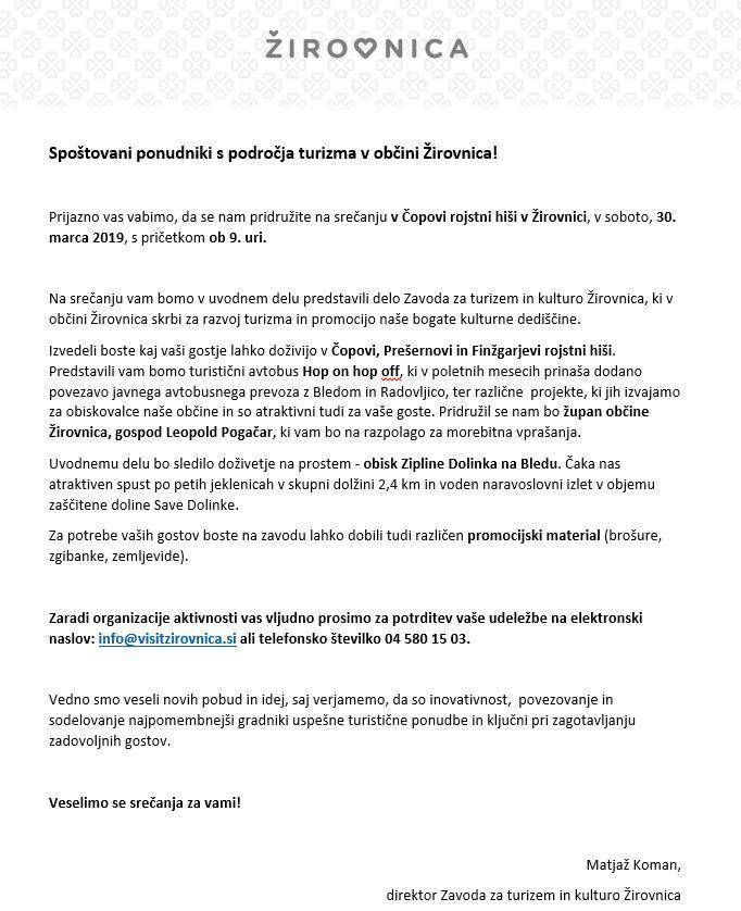 Vabilo ponudnikom s področja turizma v Žirovnici