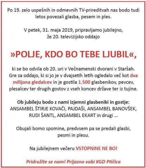 POLJE, KDO BO TEBE LJUBIL - 31. MAJ 2019