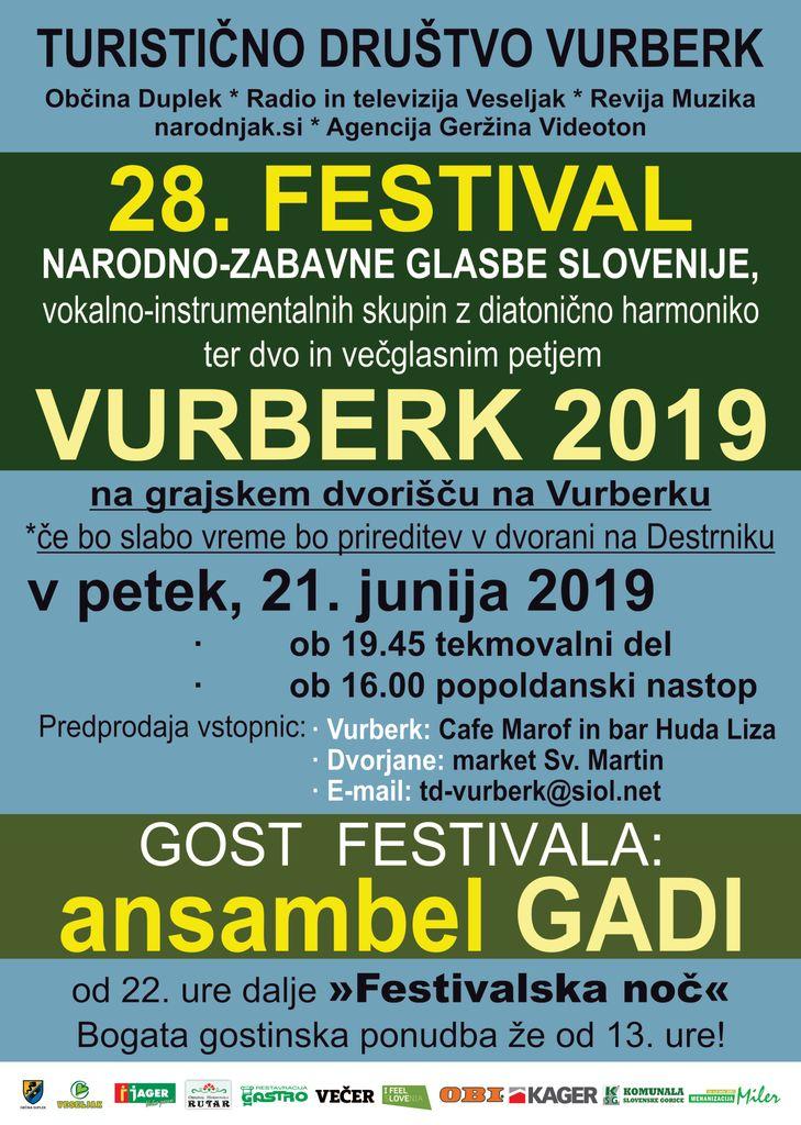 """28. festival narodno-zabavne glasbe Slovenije """"VURBERK 2019"""""""
