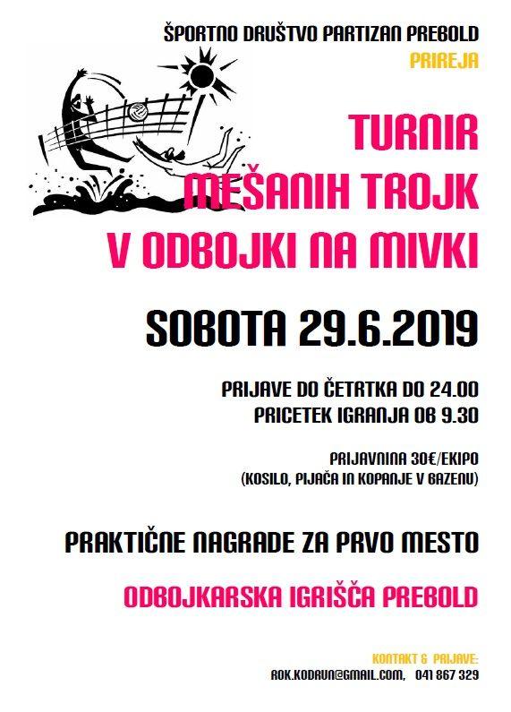Turnir mešanih trojk v odbojki na mivki - 29.6.
