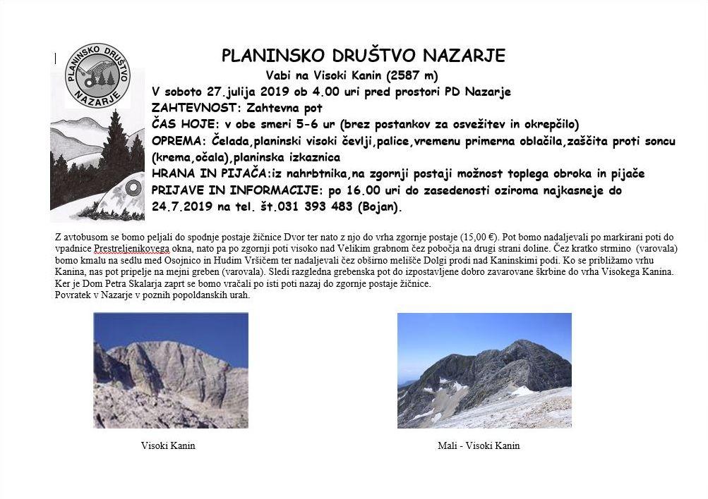 Planinsko društvo Nazarje vabi na Visoki Kanin (2587 m)