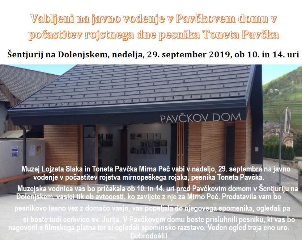 Javno vodenje v Pavčkovem domu v počastitev rojstnega dne pesnika Toneta Pavčka
