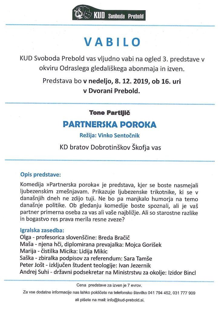 Odrasli gledališki abonma - predstava Partnerska poroka - 8.12. ob 16.00