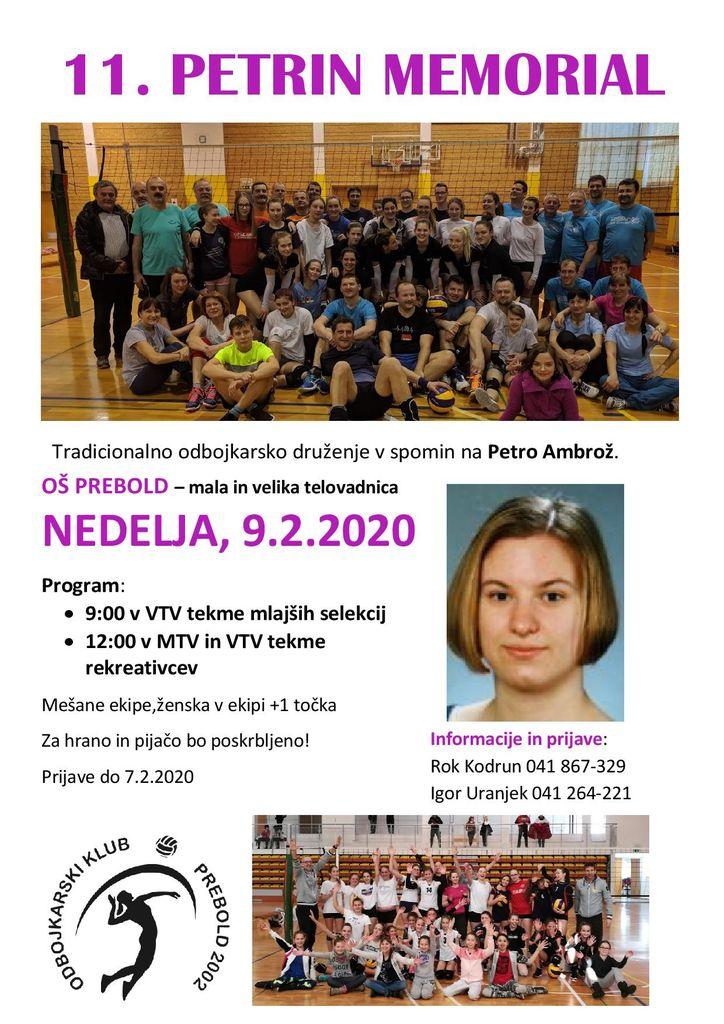 11. Petrin memorial - 9.2. ob 9.00