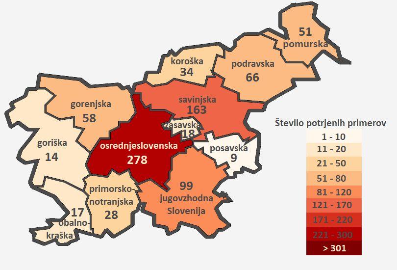 Število obolelih s COVID-19 po statistični regiji bivanja na dan 31.3.2020 do 24. ure.