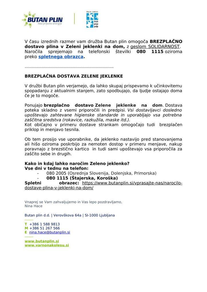 OBVESTILO O BREZPLAČNI DOSTAVI PLINA NA DOM - BUTAN PLIN D.D.