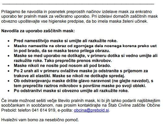 Maske za občanke in občane občine Prebold