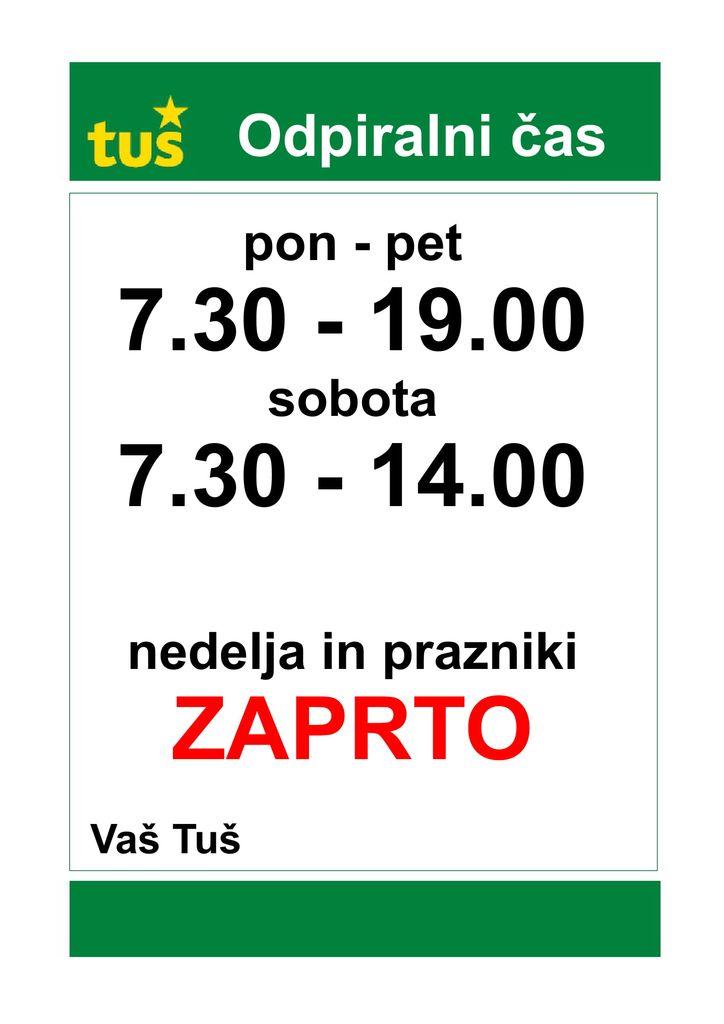 Obvestilo pošte in trgovine Tuš market Špic Destrnik