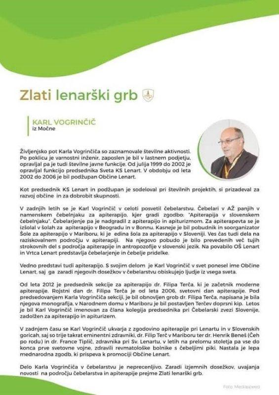 G. Vogrinčič prejel Zlati lenarški grb