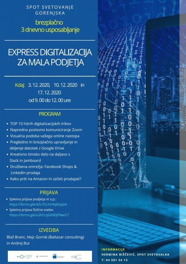 """3-dnevno usposabljanje """"Express digitalizacija za mala podjetja"""""""