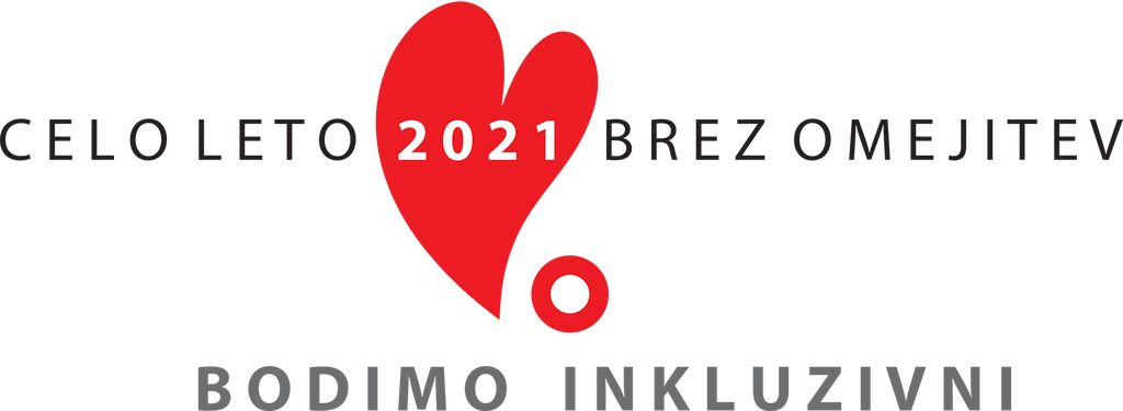 Na sliki je rdeče srce in markacije ter napis celo leto 2021 brez omejitev, bodimo inkluzivni.