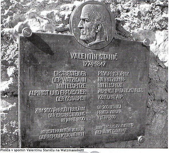 Na sliki plošča v spomin Valentunu Staniču na Watzmannhuttu, vir Gore in Ljudje