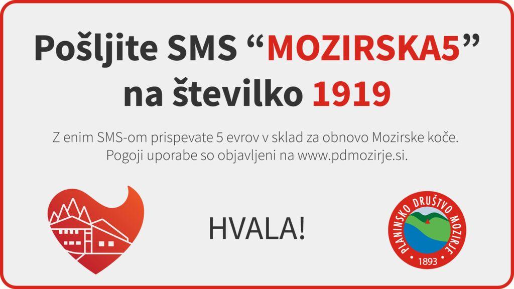 """Pošljite SMS """"MOZIRSKA5"""" na 1919"""