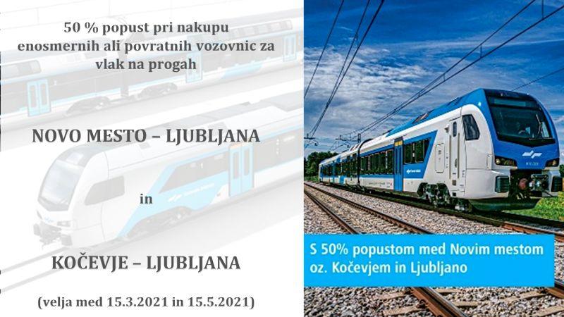 Do 15. maja z vlakom do Ljubljane za polovično ceno