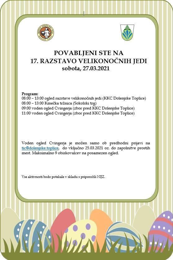 17. RAZSTAVA VELIKONOČNIH JEDI V IZVEDBI DPŽ DOLENJSKE TOPLICE, sobota: 27.03.2021