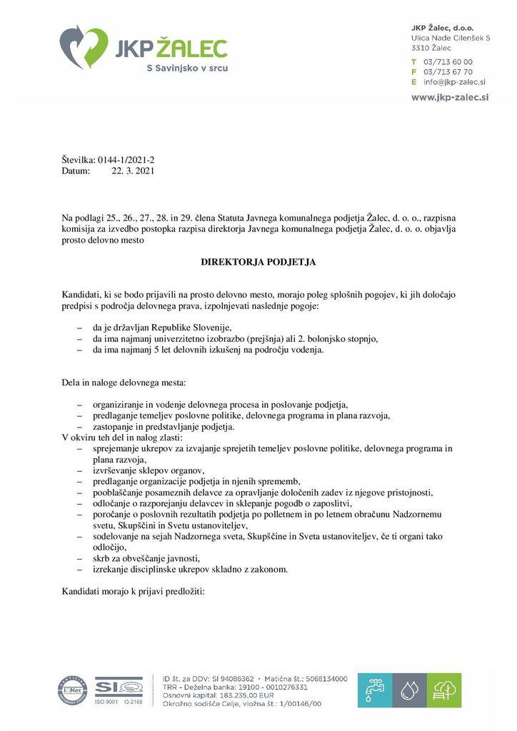 Razpis za prosto delovno mesto direktorja podjetja JKP ŽALEC, D.O.O. - prijave do 7.4.21