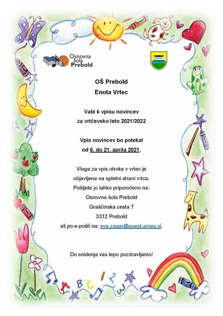 Vpis otrok v Vrtec Prebold od 6. do 21. aprila 2021