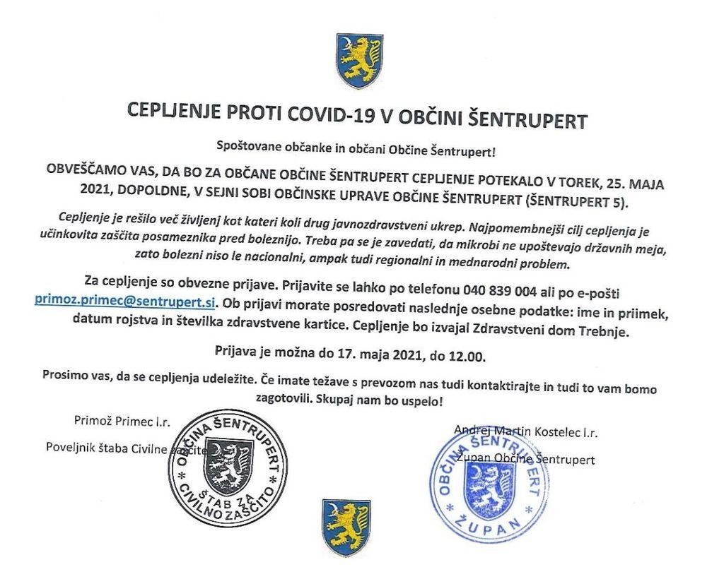 CEPLJENJE PROTI COVID-19 V OBČINI ŠENTRUPERT