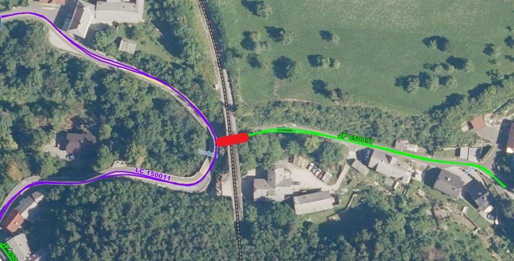 Popolna zapora občinske kategorizirane ceste, zaradi sanacije jeklenega železniškega mostu